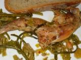 Králik na póre a cesnakových výhonkoch /Králík s pórkem a česnekovými výhonky