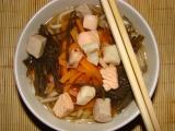 Mioshiru /tradičná japonská polievka/ s tromi druhmi rýb.