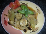 Pečeny baklažán, cuketa, paprika, cibuľa