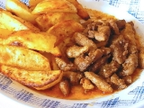 Čertove hranolčeky  s pečenými zemiakmi /Čertovy špalíčky s pečeným bramborem