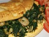 Omeleta s krevetami a špenátom na cesnaku