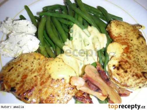 bravcove platky so zelenou fazulkou a bylinkovym maslom