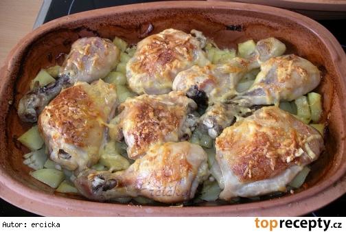 Kura so syrom a zemiakmi v rímskom hrmci