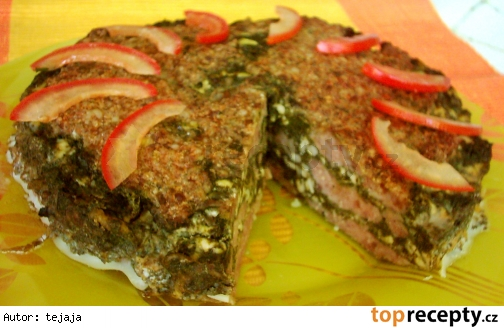 Špenátovo - mäsová torta
