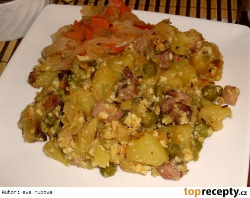 Zapečené zemiaky s hráškom /Zapečené brambory s hráškem