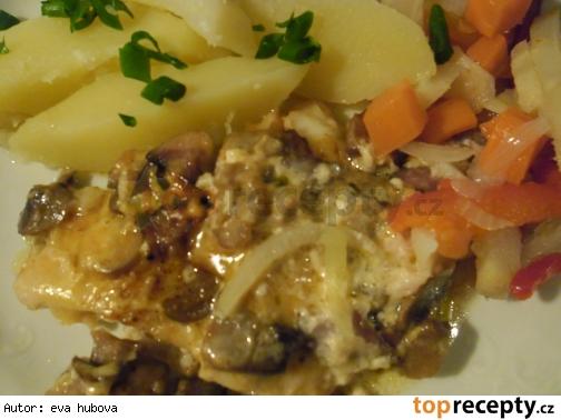 Zapečený pangasius s hubami /Zapečený pangasius s houbami