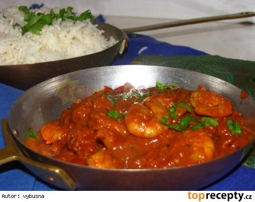Indická kuchyňa - krevetové kari s kokosovým mliekom