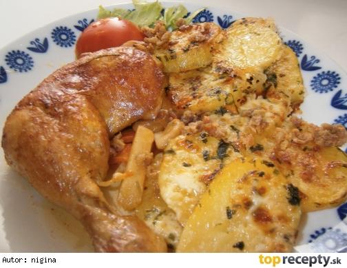 Kuracie stehná pečené na zelerovo-cesnakovom masle a zemiaky Horec