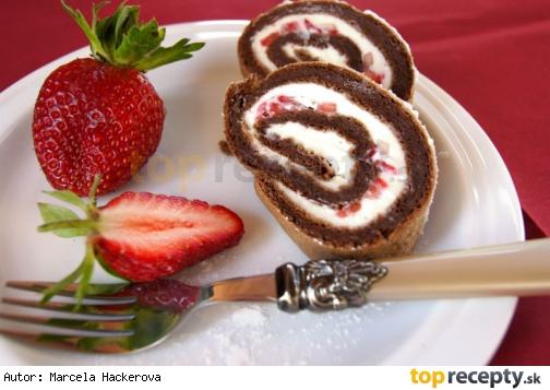 Kakaová roláda bez múky /Kakaová roláda bez mouky plněná mascarpone a čerstvými jahodami