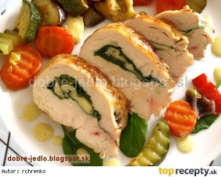 Kuracie prsia plnené špenátom a so zeleninou ratatouille