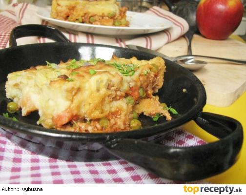 Mleté mäso zapečené pod zemiakovou kašou na spôsob *pastiersky koláč*